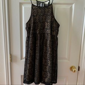 UMGEE BLACK LACE WITH NUDE BOTTOM LAYER DRESS